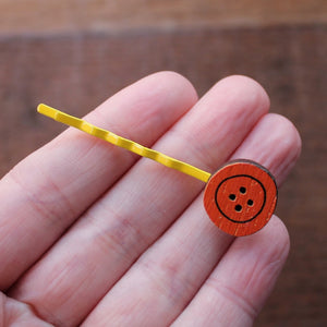 Yellow and orange button hairslide by Laura Lee Designs Cornwall
