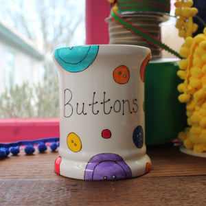 Hand painted button storage jar by Laura lee designs in Cornwall