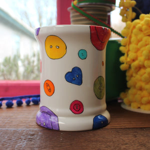 Colourful button storage by Laura Lee designs Cornwall Open topped china jar hand painted