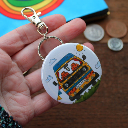 Campervan Bottle Opener Keyring  - T25 - Camping - Clip On - Keys