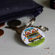Load image into Gallery viewer, T25 style campervan keyring by Laura Lee Designs Cornwall