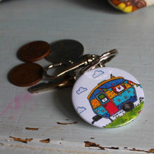 Load image into Gallery viewer, caravan keyring colourful bag charm by Laura Lee Designs Cornwall
