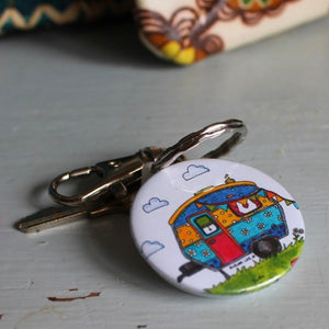 Colourful caravan keyring by Laura Lee Designs in Cornwall