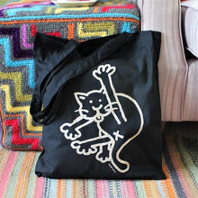 Load image into Gallery viewer, Black cat tote bag by Laura Lee Designs