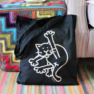 Black cat tote bag by Laura Lee Designs