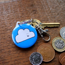 Load image into Gallery viewer, Merry weather cloud keyring with keys and coins by Laura Lee Designs