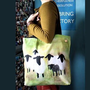 colourful watercolour sheep bag by Laura Lee Designs Suffolk sheep in a green meadow