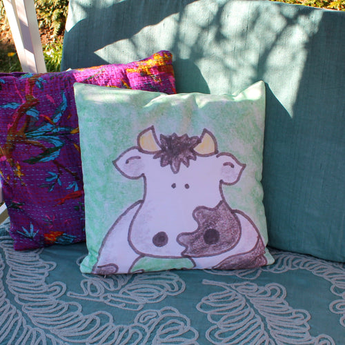 Cartoon cow cushion watercolour and ink art pillow by Laura lee designs in Cornwall
