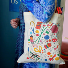 Load image into Gallery viewer, Sewing and knitting tote bag by Laura Lee designs in Cornwall