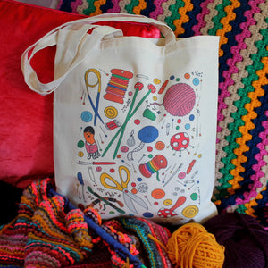 Crafters tote bag colourful craft storage by Laura Lee Designs Cornwall