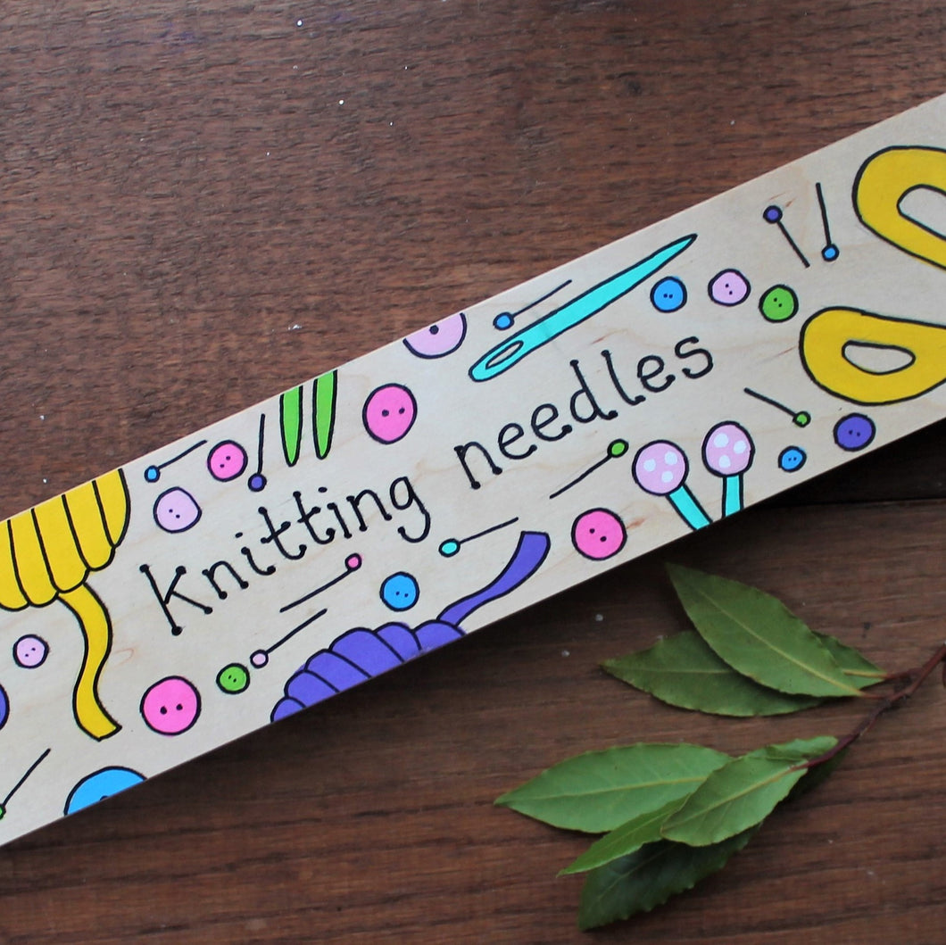 Hand painted wooden knitting needle case Laura Lee Designs