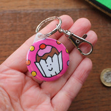 Load image into Gallery viewer, Cute cupcake keyring pink with sprinkles by Laura Lee