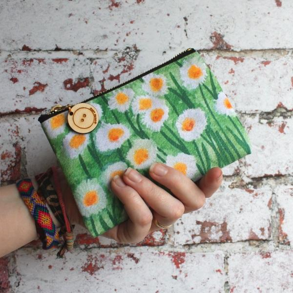 Daisies purse, colourful storage bag by Laura lee designs Cornwall