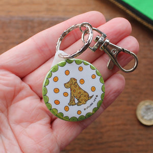 Spotty dog keyring by Laura Lee Designs