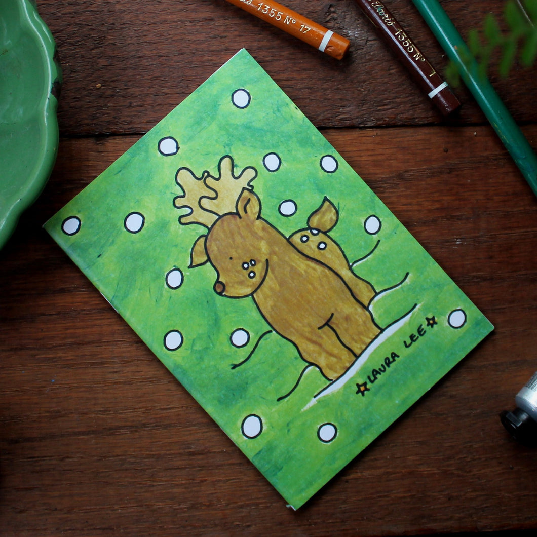 Deer notebook colourful green note book with deer and fawn by Laura Lee Designs
