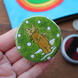 Snowy deer pocket mirror by Laura Lee Designs