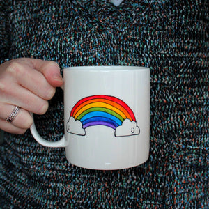 Jumbo mug rainbow mental health motivational cup by Laura Lee Designs Cornwall