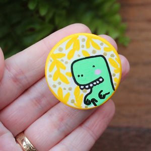 Green dinosaur Miniature art for your fridge by Laura Lee designs