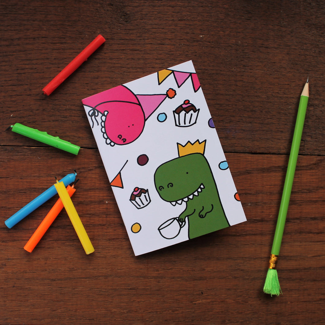 Dinosaur tea party notebook great eco party bag filler by Laura Lee Designs