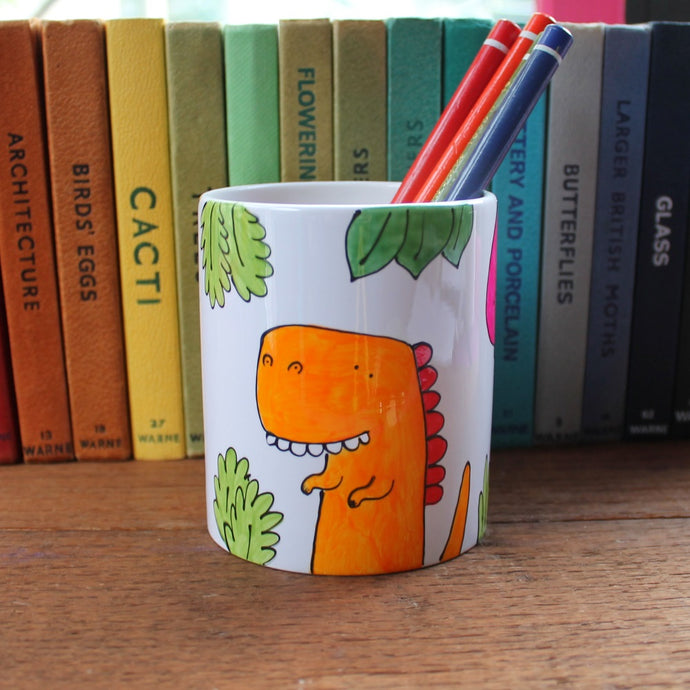 Dinosaur pen pot hand painted by Laura Lee Designs