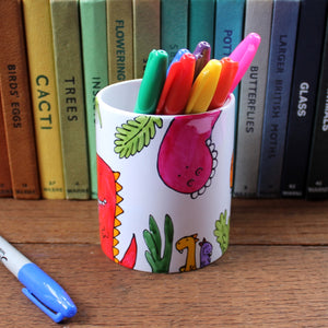 Dino pen pot by Laura Lee Designs in Cornwall