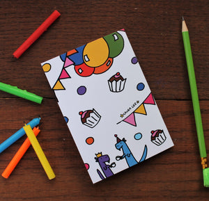 Dinosaur party notebook fun stationery by Laura Lee Designs