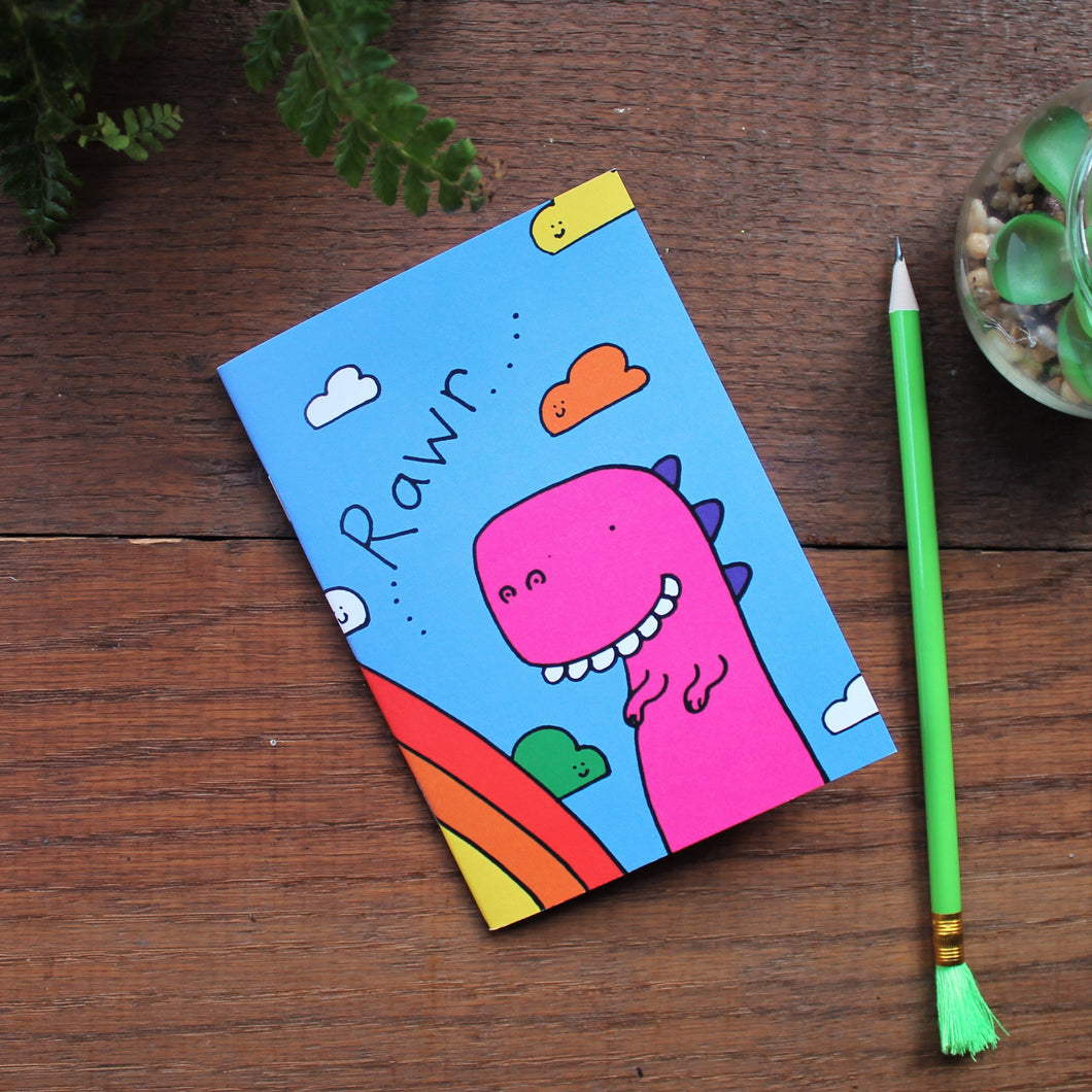 Dinosaur rainbow notebook by Laura Lee Designs Cornwall