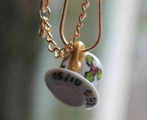 Signed limited edition miniature teacup necklace