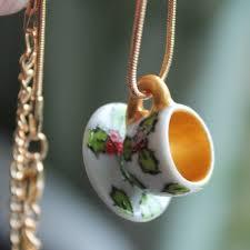 Holly Teacup Necklace by Laura Lee Designs