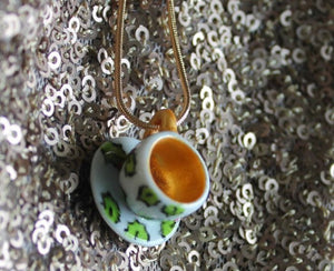 Holly Teacup Necklace Christmas Laura Lee Designs