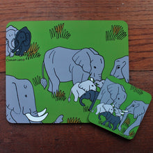 Load image into Gallery viewer, Elephant coaster and placemat set by Laura Lee Designs