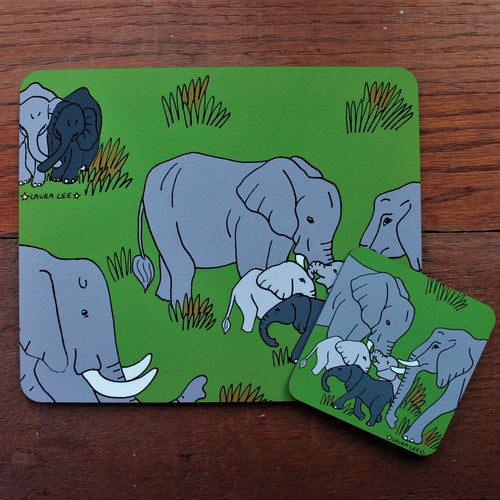 elephand placemat and coaster gift set by Laura Lee designs Cornwall