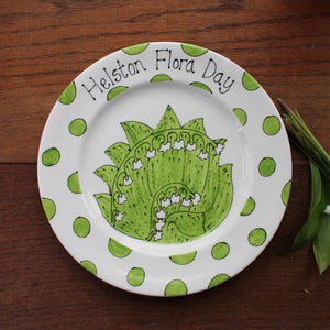Helston Flora Day Display Plate - Lily Of The Valley - Ceramic - Hand Painted