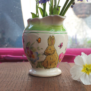 Cute vintage bunny jug upcycled eco gift by Laura Lee Designs in Cornwall