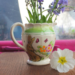 Vintage bunny jug hand painted by Laura Lee designs in Cornwall