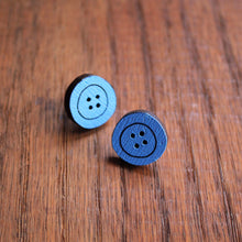 Load image into Gallery viewer, Forget me not pale blue wooden button stud earrings by Laura Lee Designs