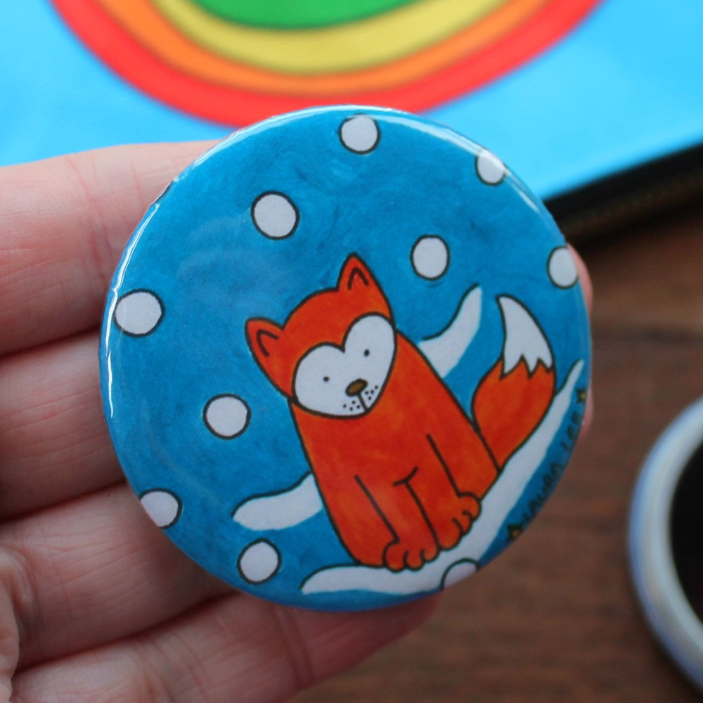 Colourful fox in the snow pocket mirror by Laura Lee designs Cornwall