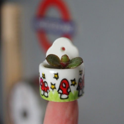 Miniature succulent planter hand painted china planter by Laura Lee Designs