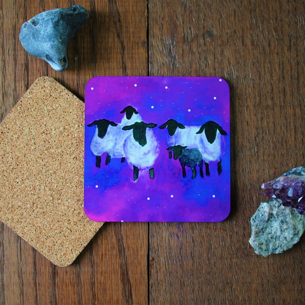 Galaxy sheep coaster by Laura Lee Designs