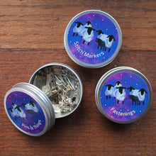 Load image into Gallery viewer, Colourful galaxy sheep tins storage for knitters by Laura Lee Designs Cornwall