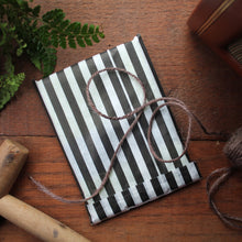 Load image into Gallery viewer, Gardening note book gift wrap black and white stripe paper bag with coloured sticker Laura Lee Designs Cornwall