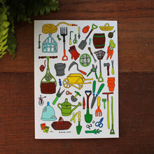 Load image into Gallery viewer, Gardening tools greeting card by Laura Lee Designs