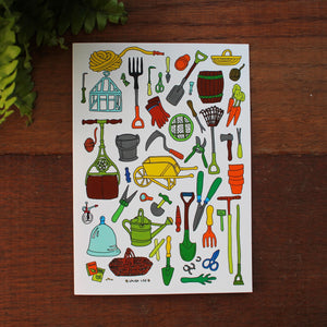 Gardening tools greeting card by Laura Lee Designs