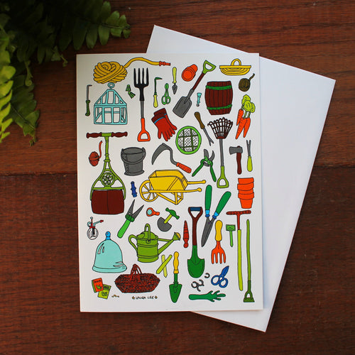 Vintage gardening tools gardeners greetings card by Laura Lee Designs Cornwall