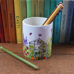 Greenhouse pen pot hand painted gardeners gift