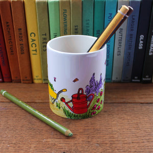 Gardener's hand painted pen pot by Laura Lee Designs Cornwall