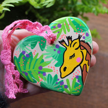 Load image into Gallery viewer, Giraffe heart hand painted zoo animal heart by Laura Lee Cornwall