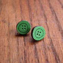 Load image into Gallery viewer, Green wooden button studs by Laura Lee Designs