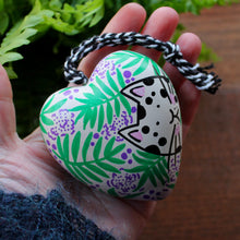 Load image into Gallery viewer, White cat with black spots ceramic heart hand painted by Laura Lee