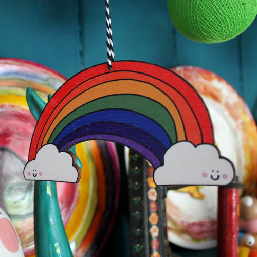 Hanging rainbow decoration by Laura lee designs